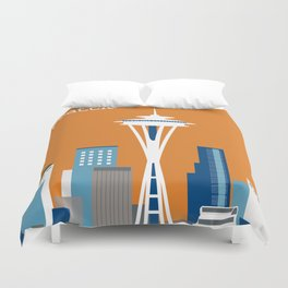 Seattle, Washington - Skyline Illustration by Loose Petals Duvet Cover
