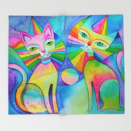 Rainbow Pussies Throw Blanket