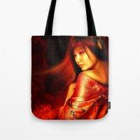 arya Tote Bags featuring Empress of Jigoku by TS95 Studios