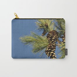 Pine cones and branches against a blue autumn sky Carry-All Pouch