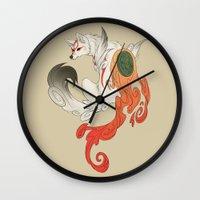 okami Wall Clocks featuring Okami Amaterasu  by Ectoimp