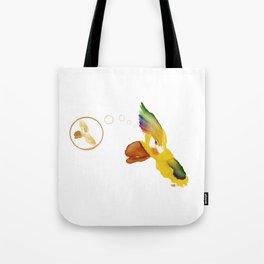 Illustrated coffee stain, Lorios, el loro Tote Bag