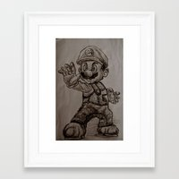 mario Framed Art Prints featuring Mario by Hannahcat