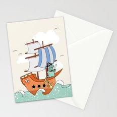 Dinosaur on a ship Stationery Cards