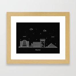 Dublin Minimal Nightscape / Skyline DrawingDublin Framed Art Print
