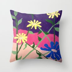 Colorful Flower Abstract Throw Pillow