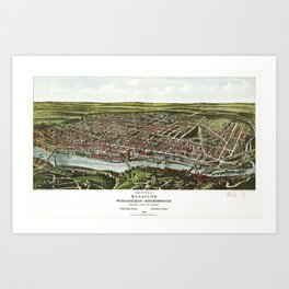 Bird's Eye View of Manayunk Philadelphia, Pennsylvania (1907) Art Print