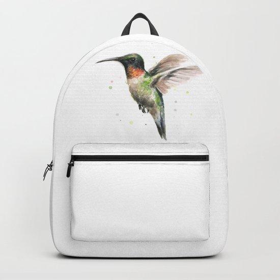 Hummingbird Watercolor Bird Animal Ruby Throated Backpack