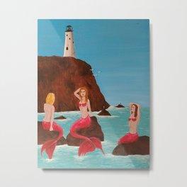 Mermaids on a rock Metal Print