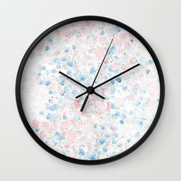 light pink and blue baby's breath flowers pattern Wall Clock