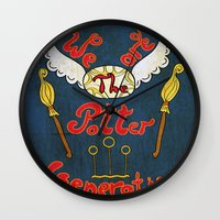 potter Wall Clocks featuring Potter Generation by green.lime