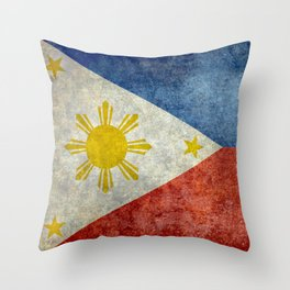 Philippines Grungy flag Throw Pillow