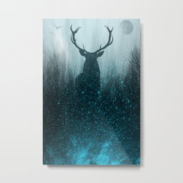 Snow Stag Silhouette Metal Print