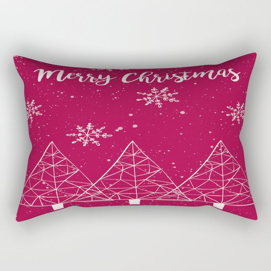 Merry Christmas Red And White Rectangular Pillow