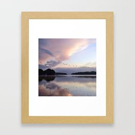 Uplifting: Geese Rise at Dawn on Lake George Framed Art Print