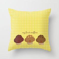 my first muffins Throw Pillow