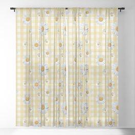 Spring Bloom   Yellow Plaid Sheer Curtain