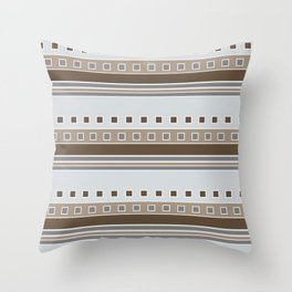 Squares and Stripes in Gray and Browns Throw Pillow