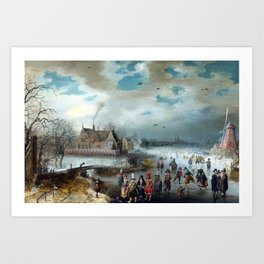 Adam van Breen Skating on the Frozen Amstel River Art Print