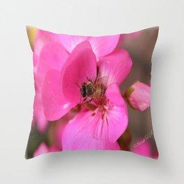 Pink geranium and bee Throw Pillow
