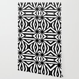 Black and white lines pattern, asymetric design, geometric theme, simple stripes lines, caleidoscope Wallpaper