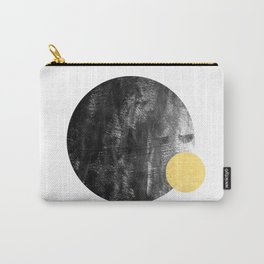 Ripley - abstract marble texture india ink painting minimal white and black with gold canvas art Carry-All Pouch