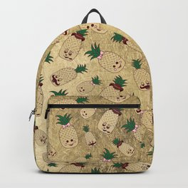 Cute Funny Brown Green Pink Gold Pineapple Backpack