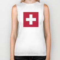 switzerland Biker Tanks featuring Switzerland Flag  by Laura Ruth