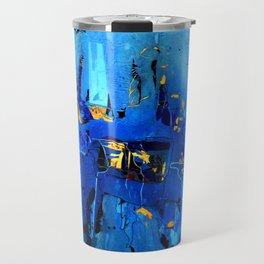 Blue, Black and White Travel Mug