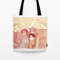 snk Tote Bags featuring SNK Buddies by rhymewithrachel