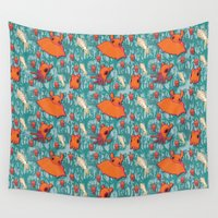 dumbo Wall Tapestries featuring Dumbo Octopi & Squid - Blue by Amy Jeanne WPG