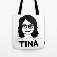 tina fey Tote Bags featuring Tina Fey by Flash Goat Industries