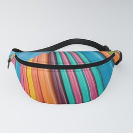 Colorful Rainbow Pipes Against Blue Sky Fanny Pack