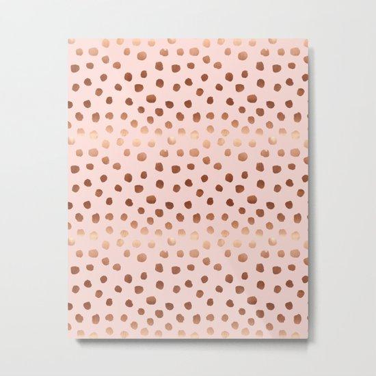 Rose Gold pastel pink polka dot painted metallic pattern basic minimal pattern print Metal Print