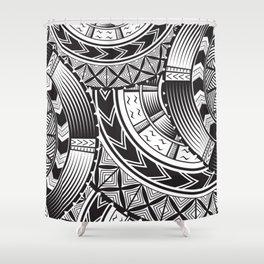 UrbanNesian Black and White Tatau Shower Curtain