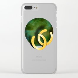 Lucky horseshoes on a textured green background Clear iPhone Case