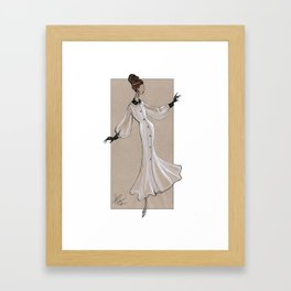 Fashion Illustration - White dress with black cuff & collar Framed Art Print