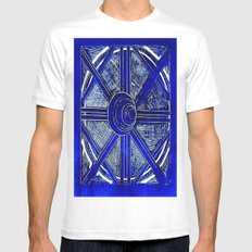 Blue White MEDIUM Mens Fitted Tee