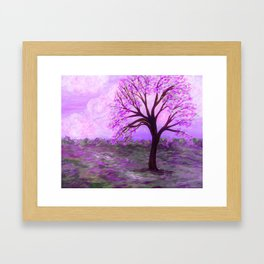 One Purple Tree Abstract Landscape Framed Art Print