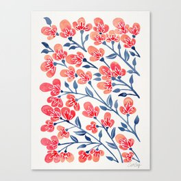Cherry Blossoms – Melon & Navy Palette Canvas Print