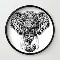 ornate Wall Clocks featuring Ornate Elephant Head by BIOWORKZ