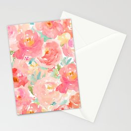 Preppy Pink Peonies Stationery Cards