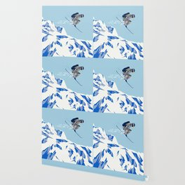 Airborn Skier Flying Down the Ski Slopes Wallpaper