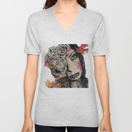 Of Suffering (dark lady portrait with roses) Unisex V-Neck