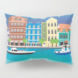 Curacao - Skyline Illustration by Loose Petals Pillow Sham