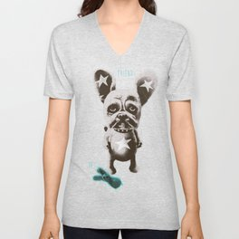 FOO FOO FRENCHIE with Pet Bunny Unisex V-Neck