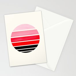 Red Mid Century Modern Minimalist Circle Round Photo Staggered Sunset Geometric Stripe Design Stationery Cards