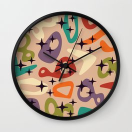 Colorful Retro Mid Century Modern Abstract Composition 687 Wall Clock