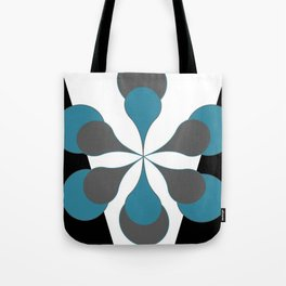 Mid-Century Modern Art 1.4B Grey Aqua Flower Tote Bag