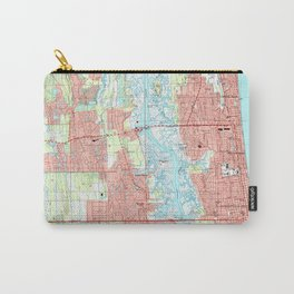 Jacksonville Beach and Atlantic Beach Florida Map Carry-All Pouch